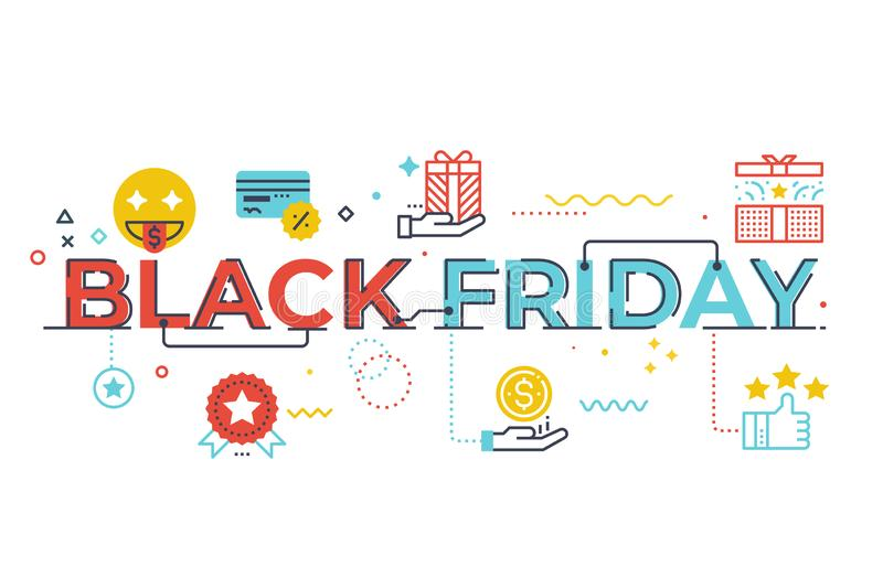 Black friday word lettering illustration. With icons for web banner, flyer, landing page, presentation, book cover, article, etc royalty free illustration