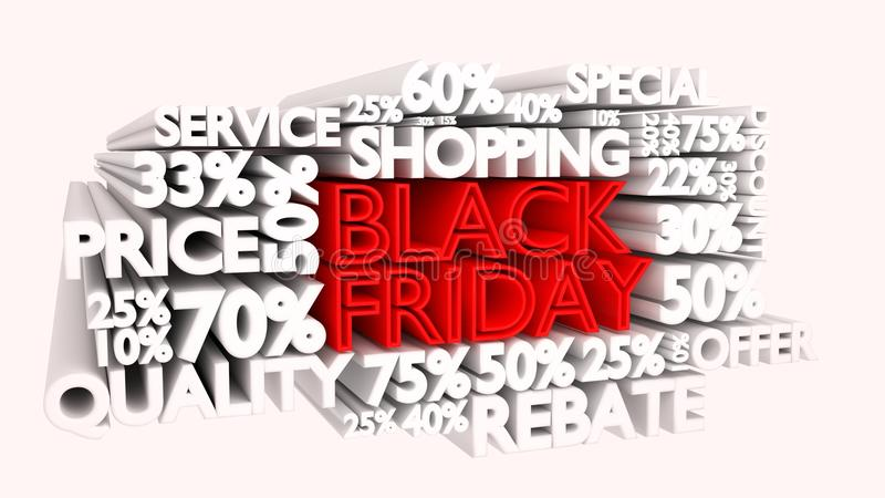 Black Friday word and percentage discount signs stock illustration