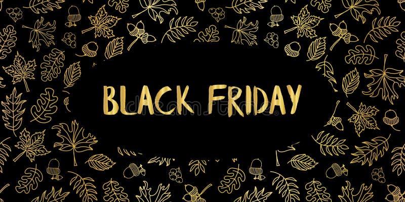 Black Friday złocistej folii liści wektorowa ręka rysująca ilustracji