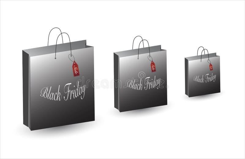 Black Friday-zak Verkoop en overeenkomsten Reeks het winkelen zakken vector illustratie