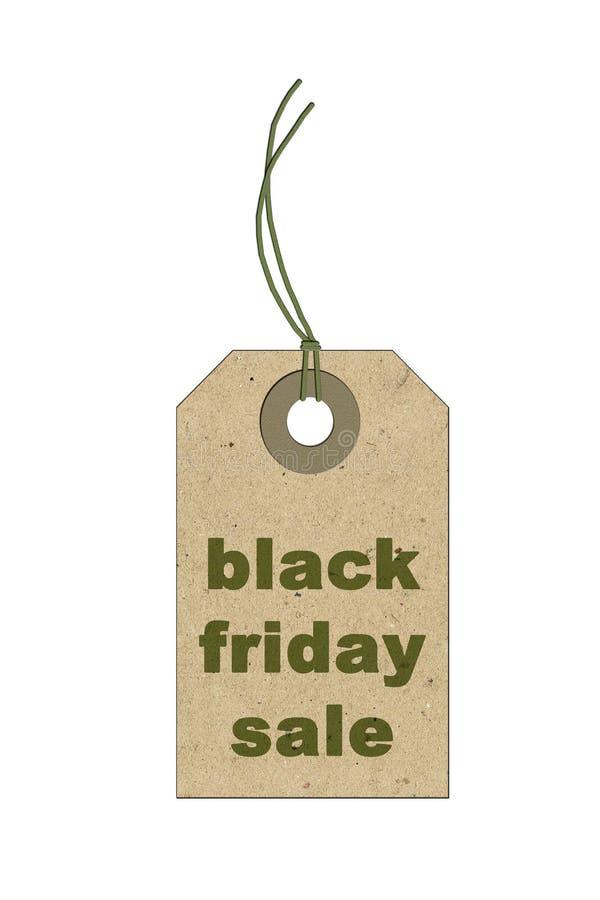 Black Friday zakupy sprzedaży pojęcie z eco sprzedaży etykietki biletowym zakończeniem up na białym odosobnionym tle zdjęcie stock