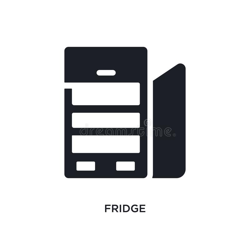 Black fridge isolated vector icon. simple element illustration from furniture concept vector icons. fridge editable black logo. Symbol design on white stock illustration