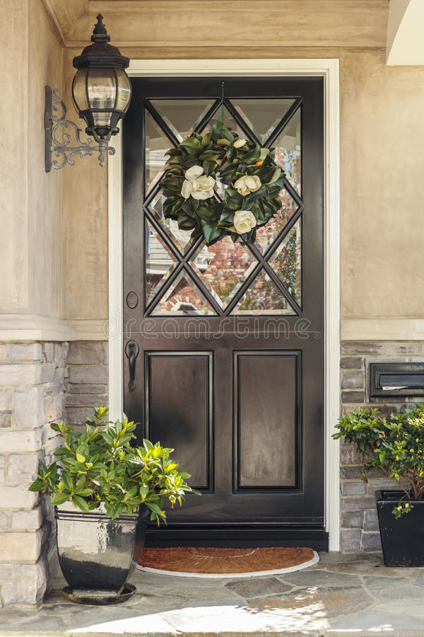 Download Black Front Door To Home With Flower Wreath Stock Image   Image Of  House,