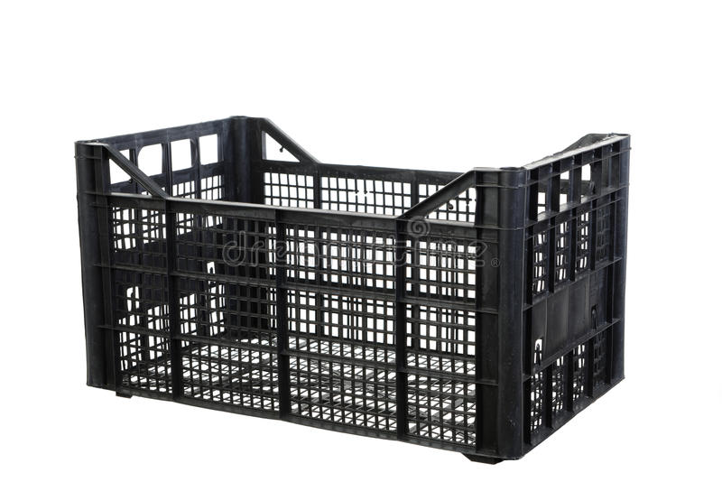 Black fruits and vegetable plastic crates. Blackl fruits and vegetable plastic crates isolated on white background royalty free stock image