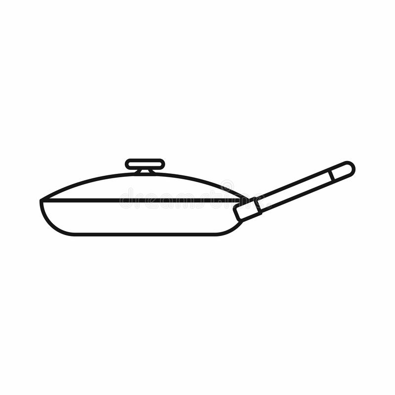 Black frying pan icon, outline style vector illustration