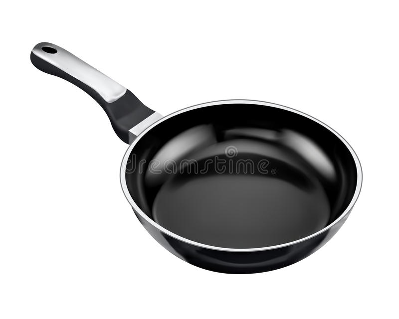 Black frying pan vector illustration
