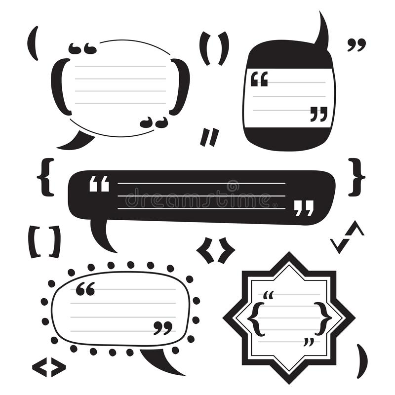 Black funky modern blank and empty block quotes icons set design elements on white. Background vector illustration