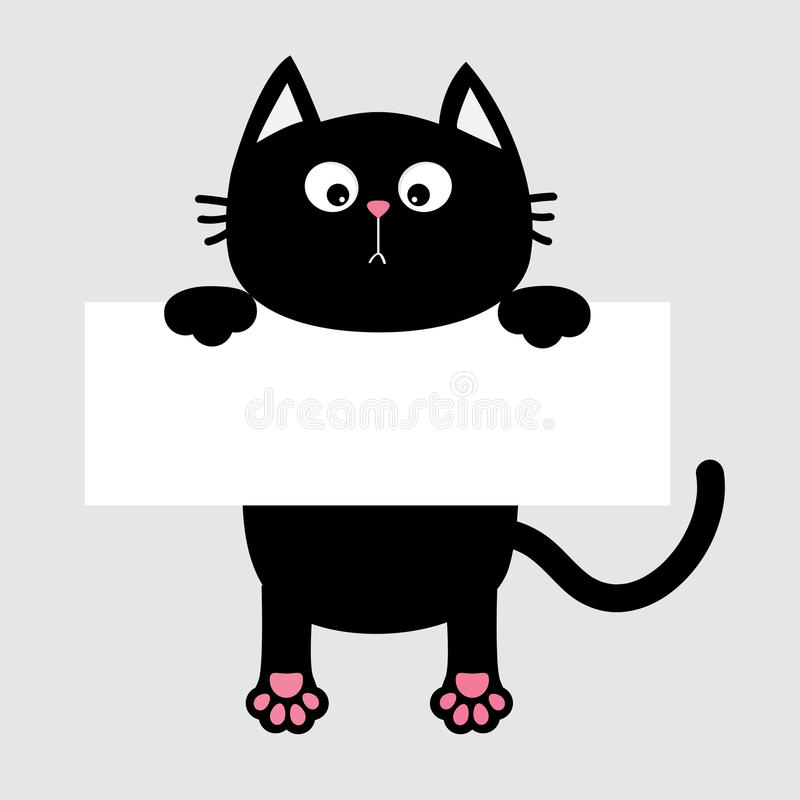 Free Black Funny Cat Hanging On Paper Board Template. Kitten Body With Paw Print, Tail. Cute Cartoon Character. Kawaii Animal. Baby Car Royalty Free Stock Photography - 87419537