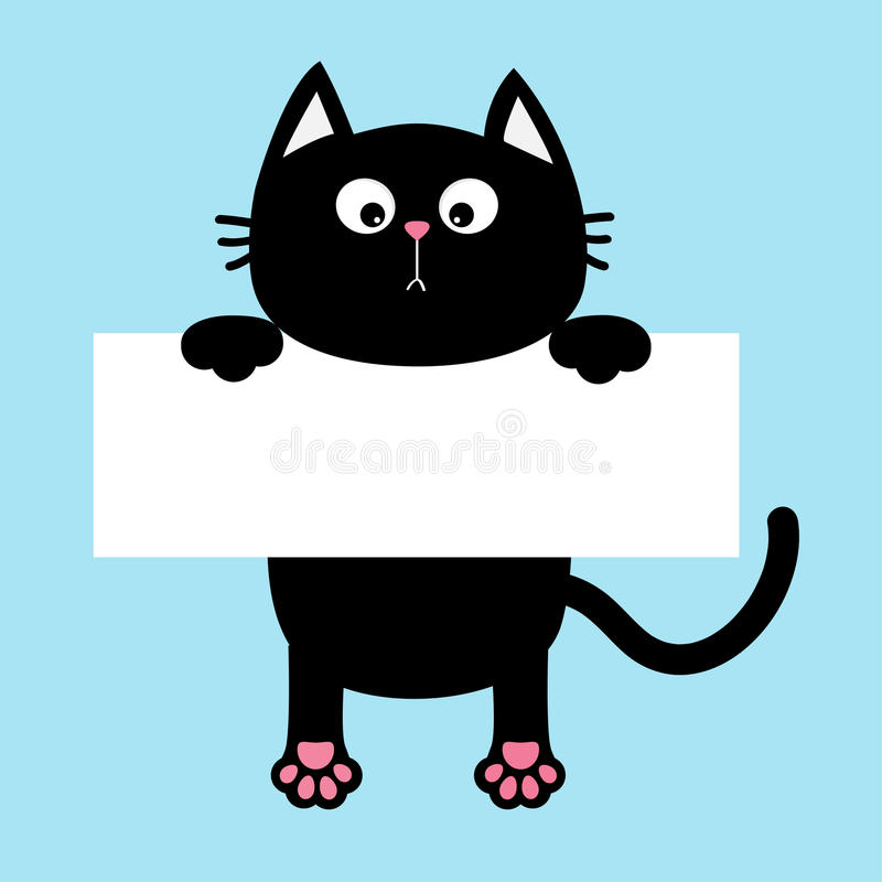 Black funny cat hanging on paper board template. Kitten body with paw print, tail. Cute cartoon character. Kawaii animal. Baby car. D. Pet collection. Flat vector illustration