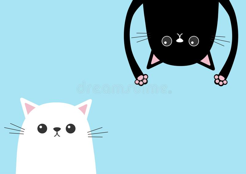 Black funny cat Head silhouette hanging upside down. White kitten head face. Eyes, teeth, tongue, hands paw print. Cute cartoon ch stock illustration