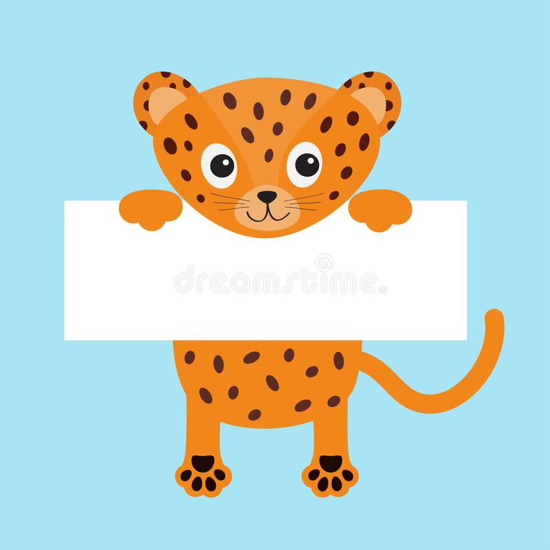 Black funny jaguar cat hanging on paper board template. Kitten body with paw print, tail. Cute cartoon character. Kawaii animal. B. Aby card. Flat design. Blue stock illustration