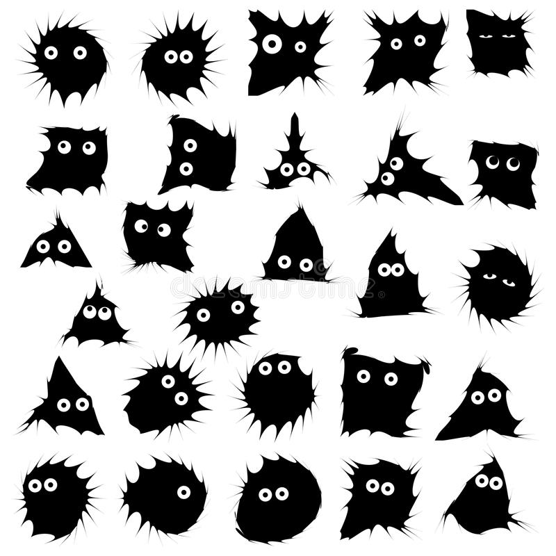 Black funny monsters ink blots isolated set stock illustration