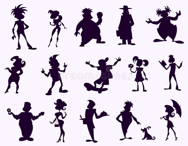 Download Black funny silhouettes stock vector. Image of mysterious - 20103302