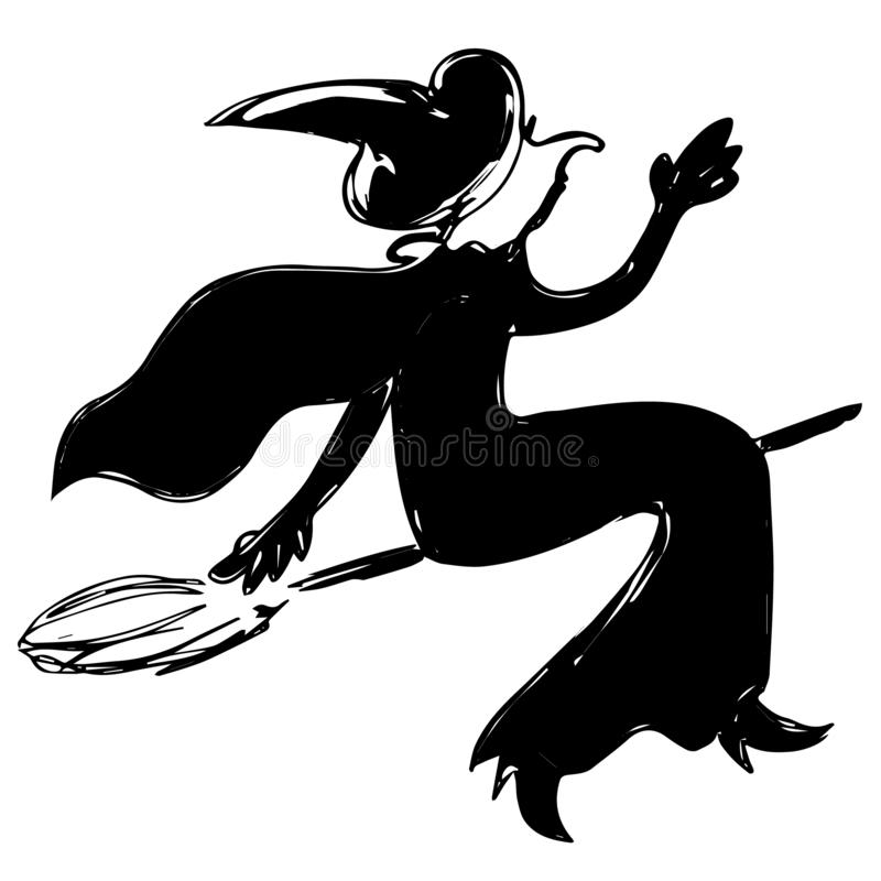 Black funny witch silhouette in dress, hat, cloak is flying on a broomstick royalty free illustration