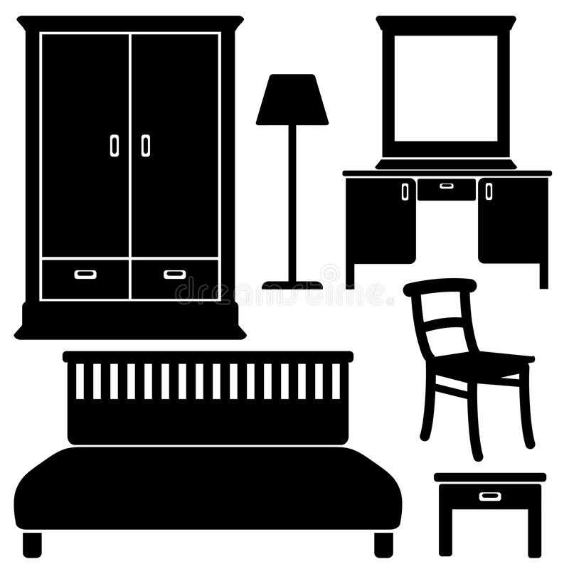 Black furniture icons, bedroom set, royalty free illustration