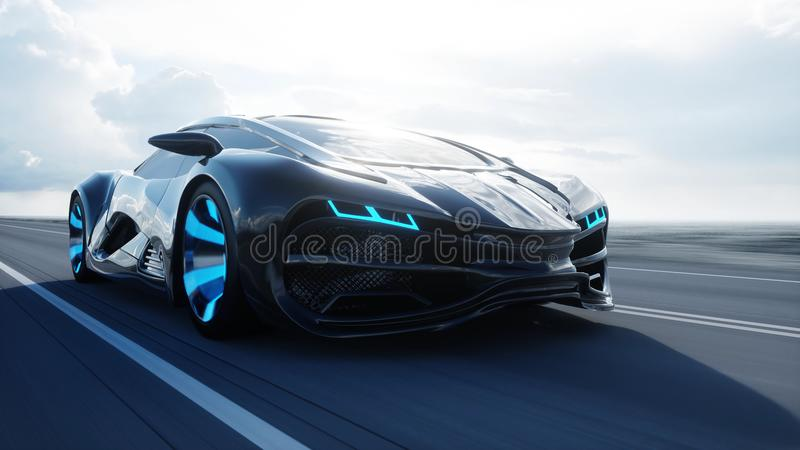 Black futuristic electric car on highway in desert. Very fast driving. Concept of future. 3d rendering. Black futuristic electric car on highway in desert. Very stock illustration