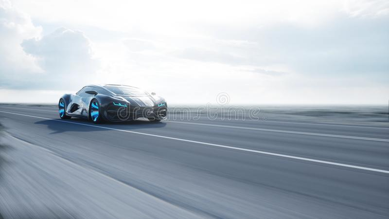 Black futuristic electric car on highway in desert. Very fast driving. Concept of future. 3d rendering. Black futuristic electric car on highway in desert. Very vector illustration