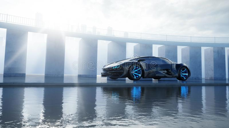 Black futuristic electric car on seafront. Urban fog. Concept of future. 3d rendering. Black futuristic electric car on seafront. Urban fog. Concept of future vector illustration