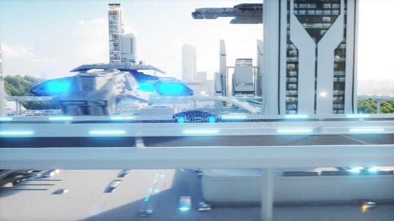Black futuristic electric car very fast driving in sci fi sity, town. Concept of future. 3d rendering. Black futuristic electric car very fast driving in sci fi stock illustration