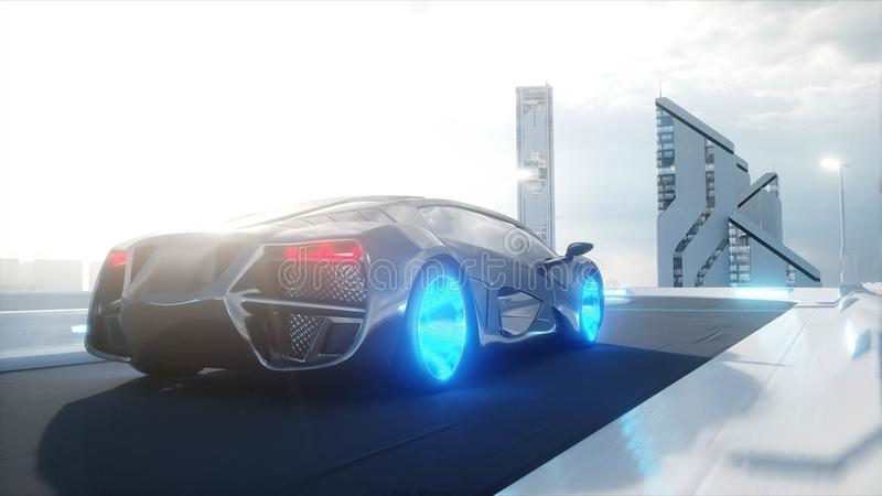 Black futuristic electric car very fast driving in sci fi sity, town. Concept of future. 3d rendering. Black futuristic electric car very fast driving in sci fi stock illustration