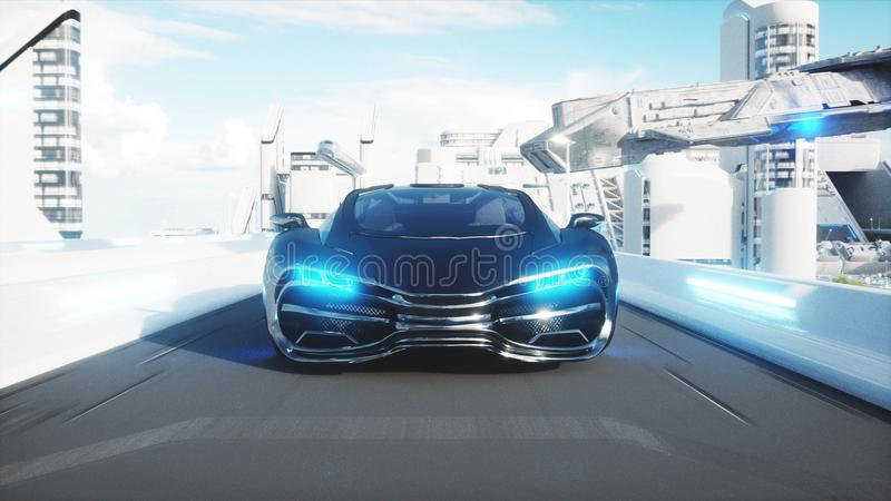 Black futuristic electric car very fast driving in sci fi sity, town. Concept of future. 3d rendering. Black futuristic electric car very fast driving in sci fi royalty free illustration