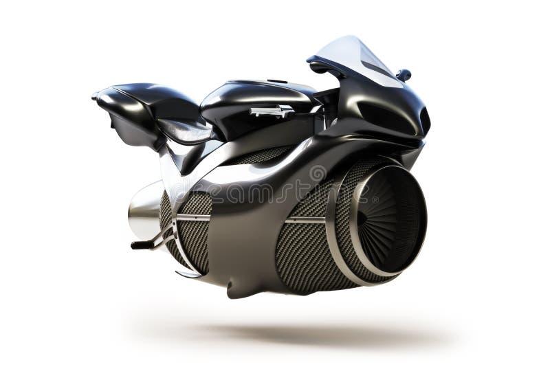 Black futuristic turbine jet bike stock illustration