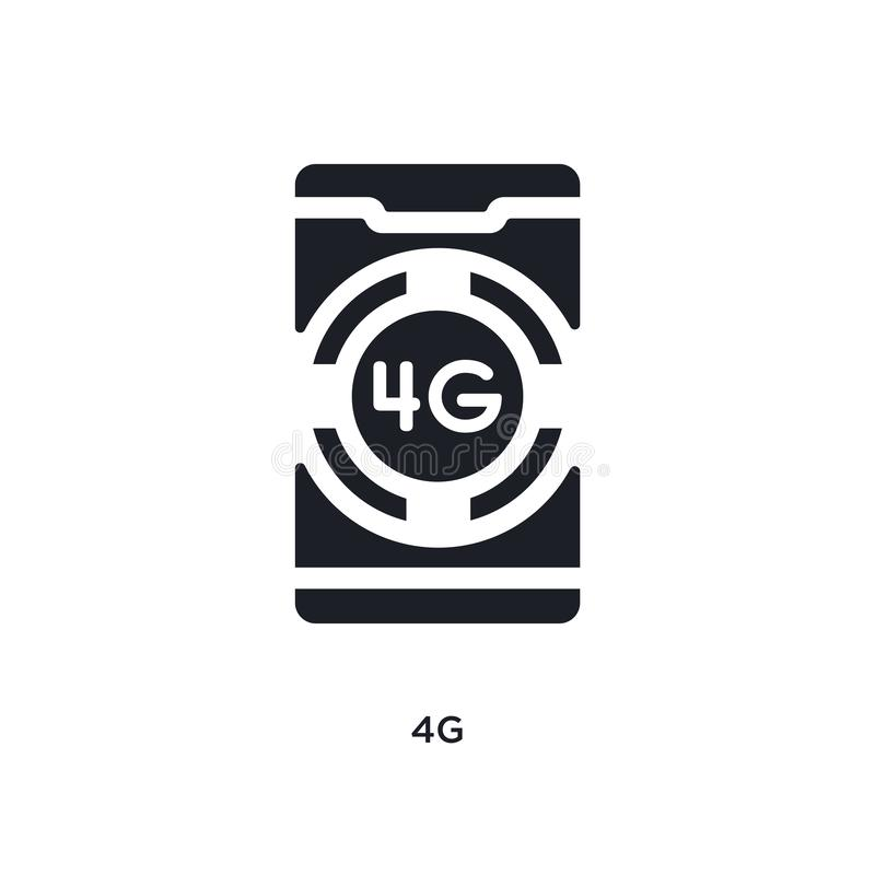 Black 4g isolated vector icon. simple element illustration from mobile app concept vector icons. 4g editable logo symbol design on. White background. can be use royalty free illustration