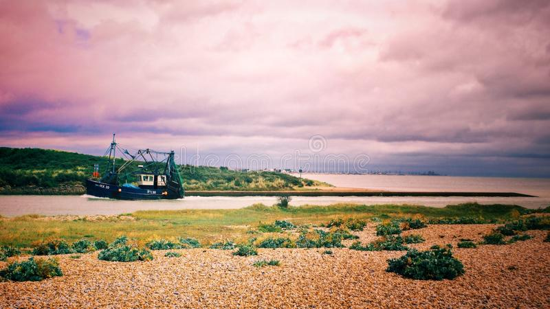 Black Galleon Ship on River Photo royalty free stock photography