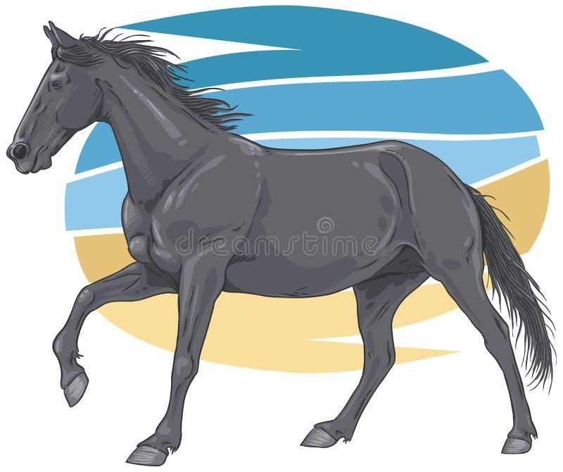 Download Black Galloping Horse Illustration Stock Vector - Illustration: 30893199