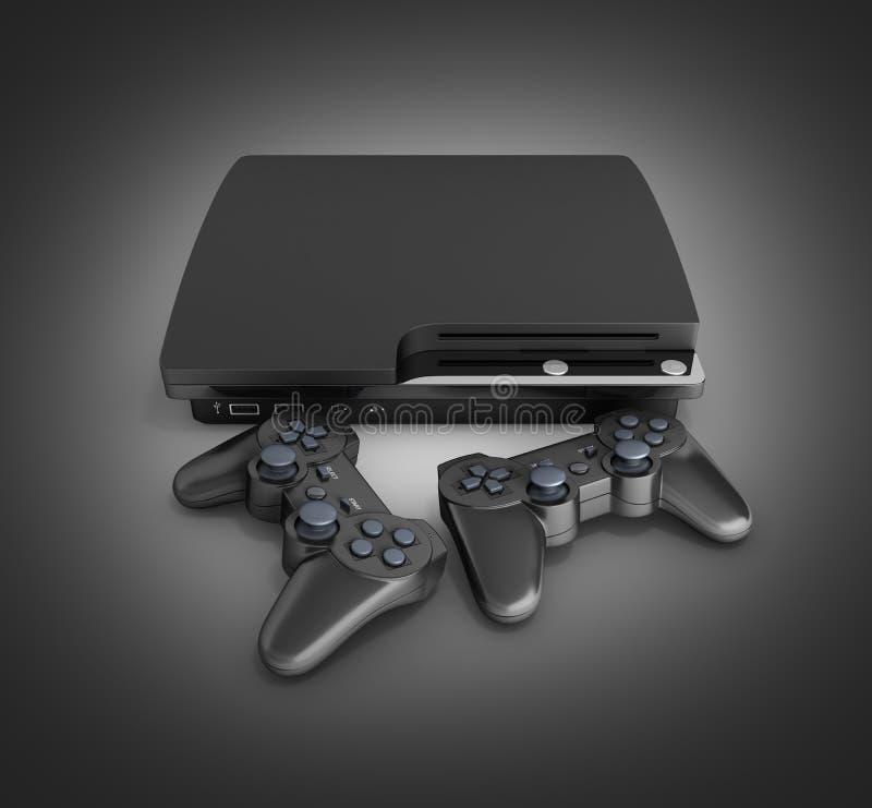 Black game console with joysticks on black gradient background 3d render. Black game console with joysticks on black gradient background 3d vector illustration