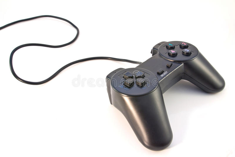 Black game controller isolated stock photography