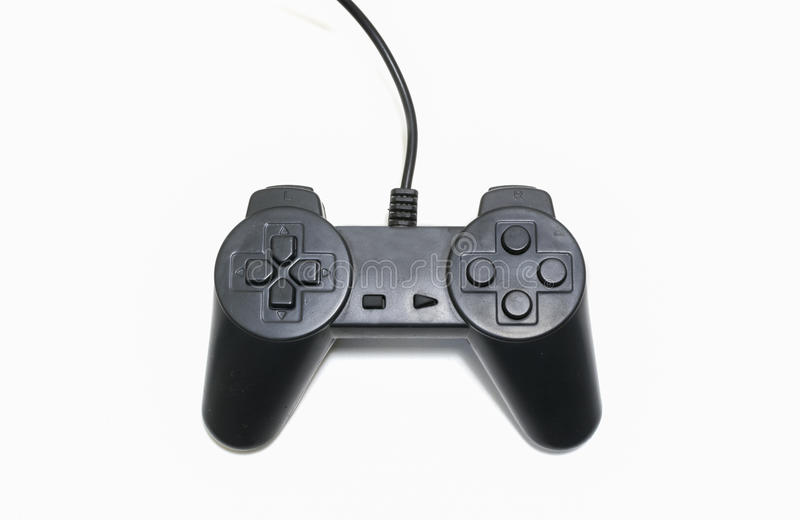 Black game controller isolated on white background royalty free stock image