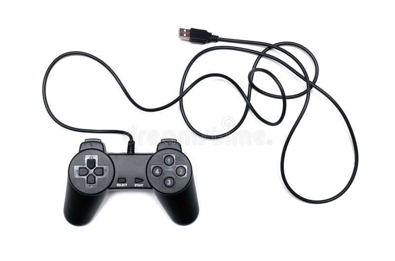 Game joystick. Black game usb joystick isolated on white background stock image