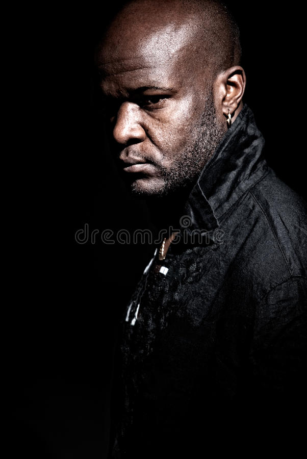 Black Gangster Men Looking Serious High Contrast Stock Photo