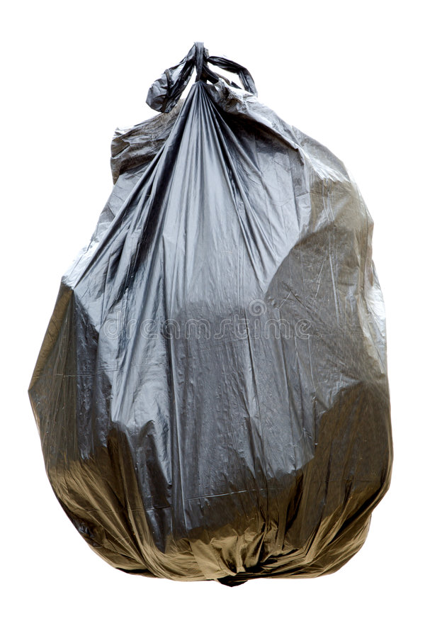 Black garbage bag. Isolated on a white background stock images