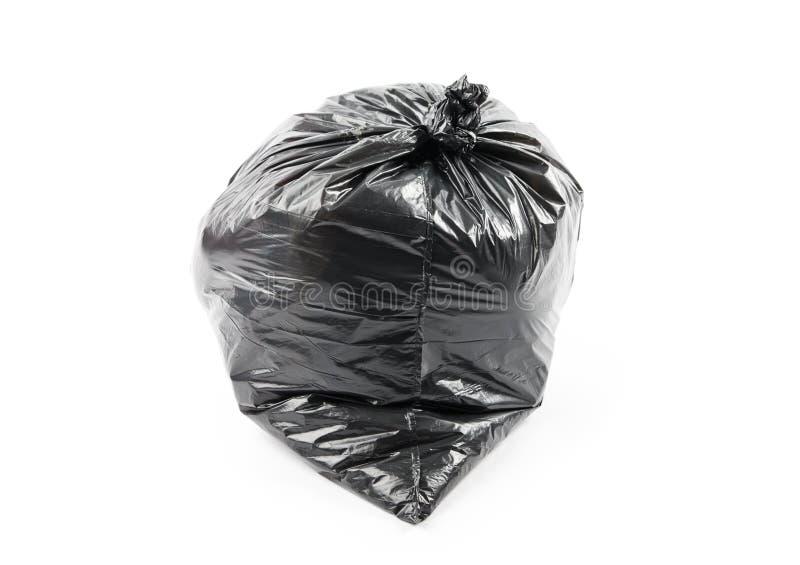 Black garbage bag. Isolated on white background royalty free stock image