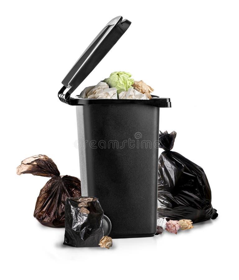 Free Black Garbage Bin On The White Stock Photos - 173360193