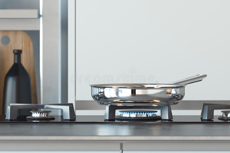 Black gas stove with burning blue flame and frying pan above. 3d rendering. Black gas stove with burning blue flame and frying pan above. Interior of bright stock illustration