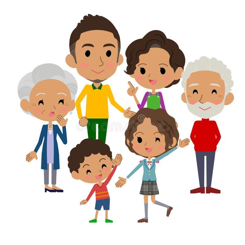 Black_gather de las generaciones de la familia tres stock de ilustración