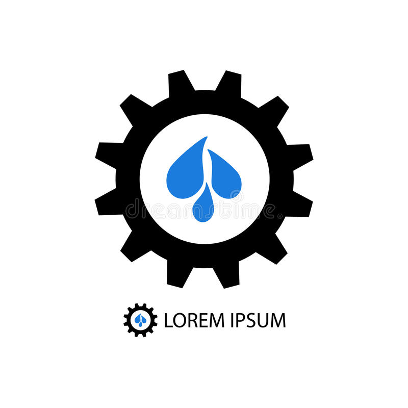 Black gear wheel with blue water drops vector illustration