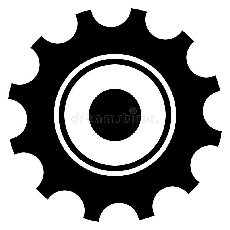 Black gearwheel, gear symbol. Maintance, repair, settings. Or service concept icon. - Royalty free vector illustration vector illustration