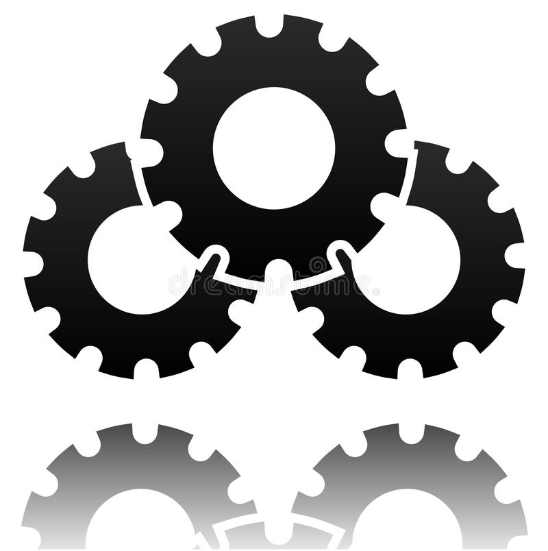 Black gearwheel, gear symbol. Maintance, repair, settings. Or service concept icon. - Royalty free vector illustration royalty free illustration