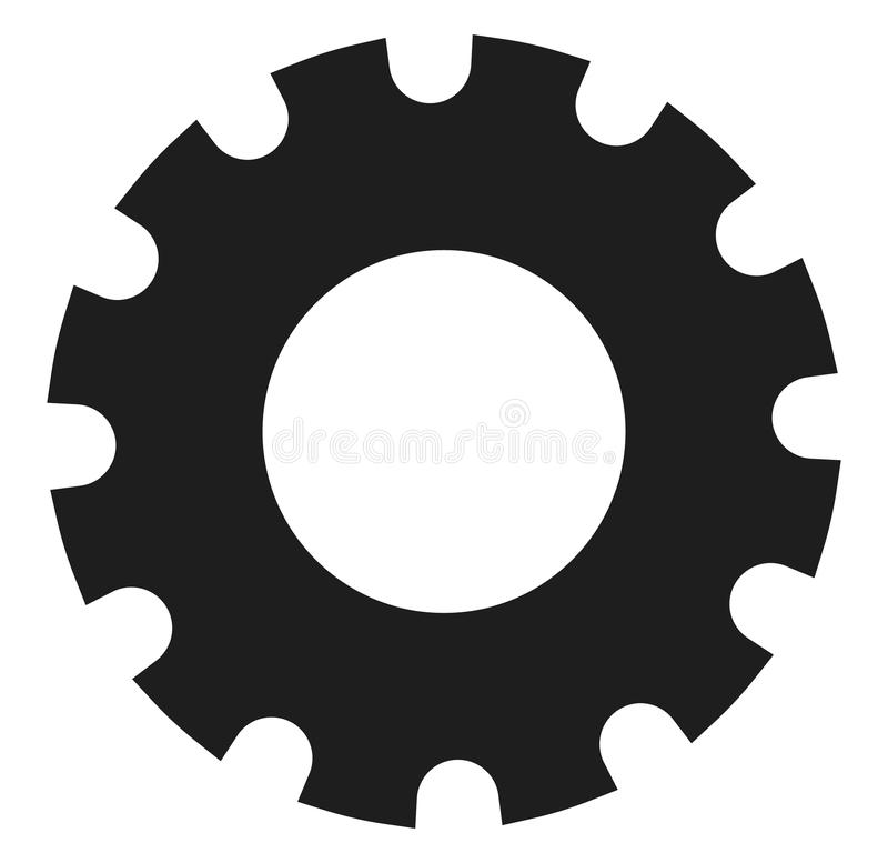 Black gearwheel, gear symbol. Maintance, repair, settings. Or service concept icon. - Royalty free vector illustration stock illustration