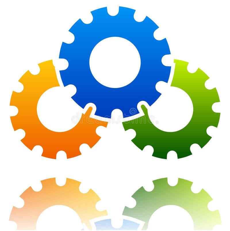 Black gearwheel, gear symbol. Maintenance, repair, settings. Or service concept icon. - Royalty free vector illustration royalty free illustration