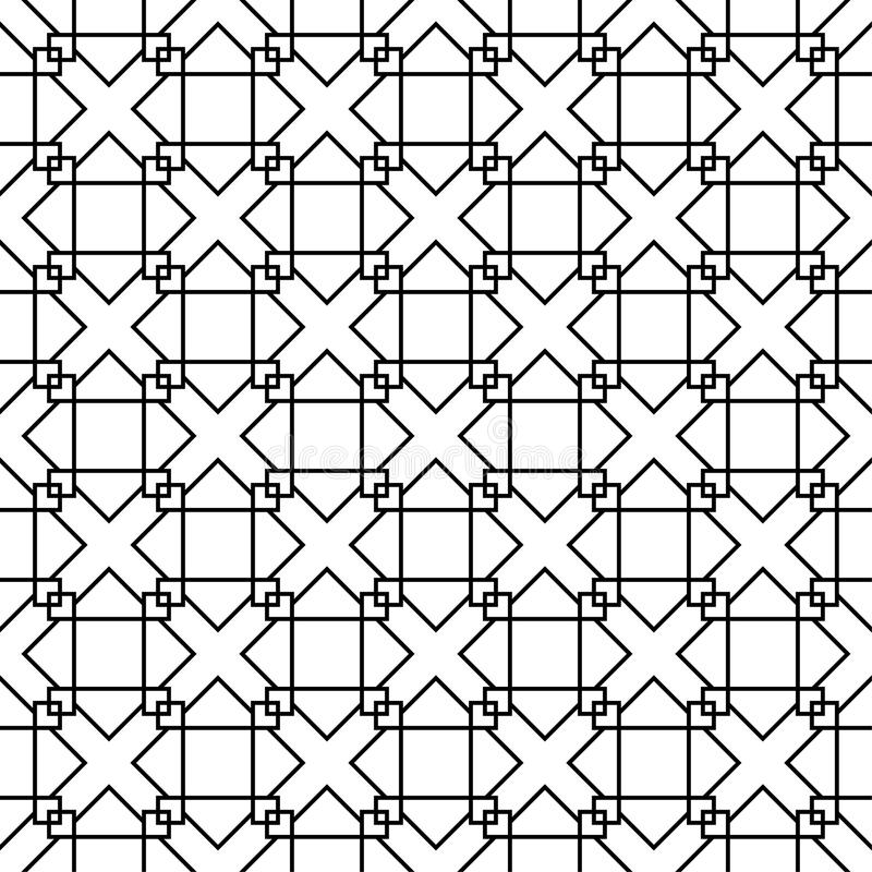 Black geometric ornament on white background. Seamless pattern vector illustration