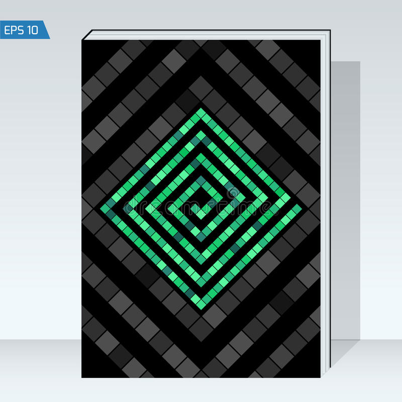 Black geometry design Cover brochure. color maze of cubes, geometry backgrounds. royalty free illustration