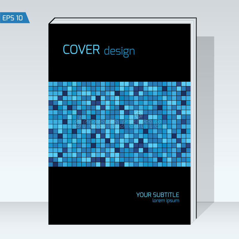 Black geometry design Cover brochure. Vector template Layout for annual report, book cover, headline, stock illustration
