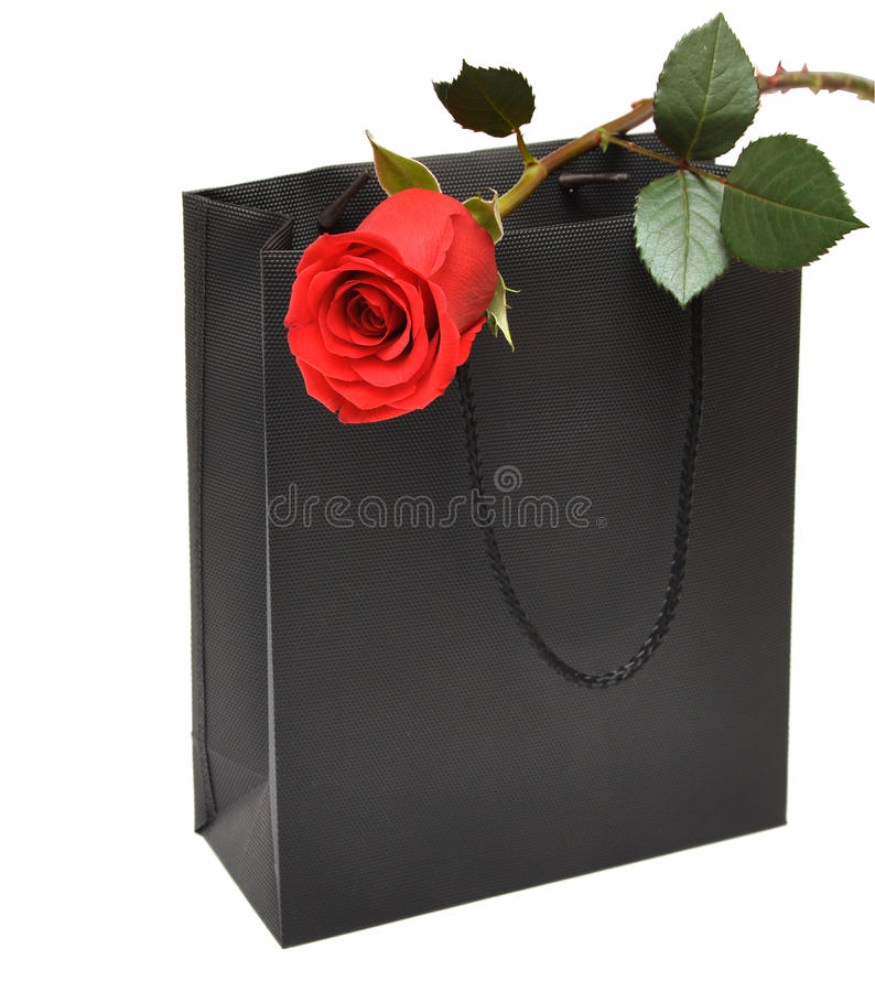 Free Black Gift Bag With Red Rose Royalty Free Stock Image - 16827516