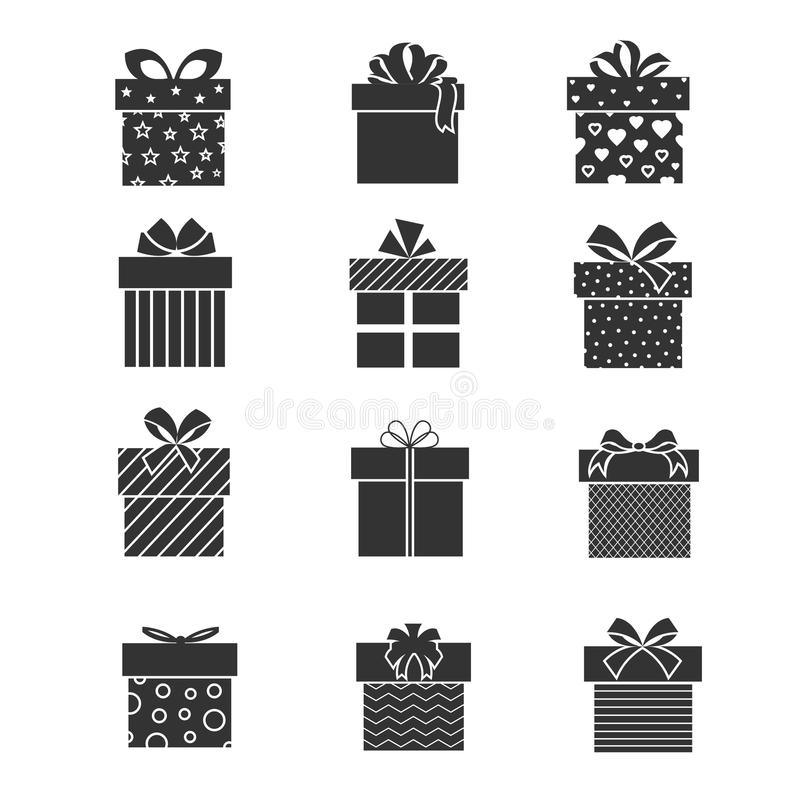 Black gift box icons. Presents signs with ribbons and bows royalty free illustration
