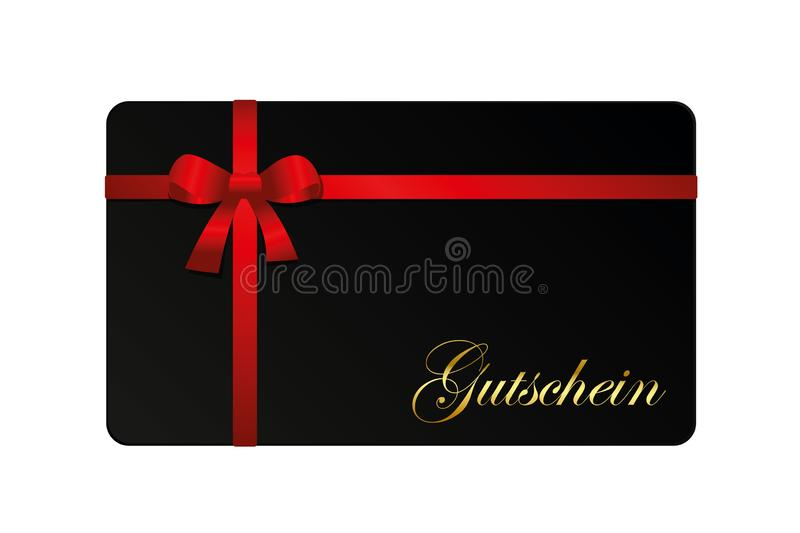 Black gift card voucher with red ribbon isolated from background royalty free illustration